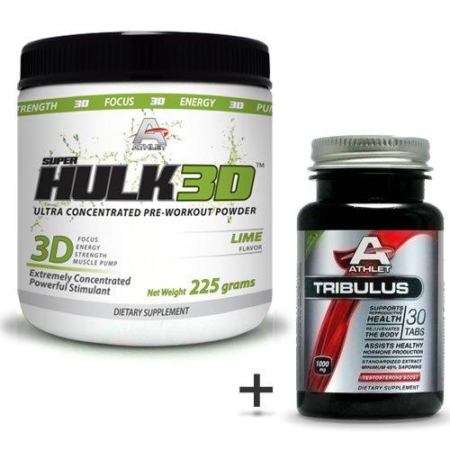 Athlet savoir Hulk3d pré-séance d'entraînement en poudre 225 gr Citron Jitter-F ocus-Free Tribulus