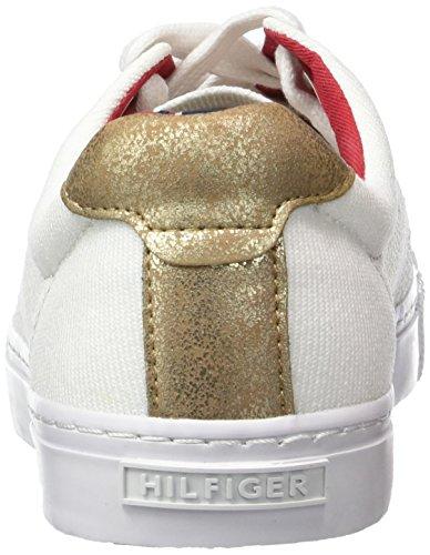 Tommy Hilfiger V1285ALI 2C - Zapatillas Mujer Blanco - Weiß (SNOW WHITE/GOLD 118)