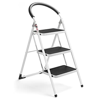 Delxo 3 Step Ladder Folding Step Stool Stepladders with Handgrip Anti-slip and Wide Pedal Sturdy Steel Ladder 330lbs White and Black Combo (3 feet) (3 Step Ladder)
