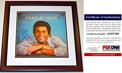 Charley Pride Signed - Autographed Album Cover with PSA/DNA Certificate of Authenticity (COA) MAHOGANY CUSTOM FRAME with LP Vinyl Record Album - Personalized To Rick