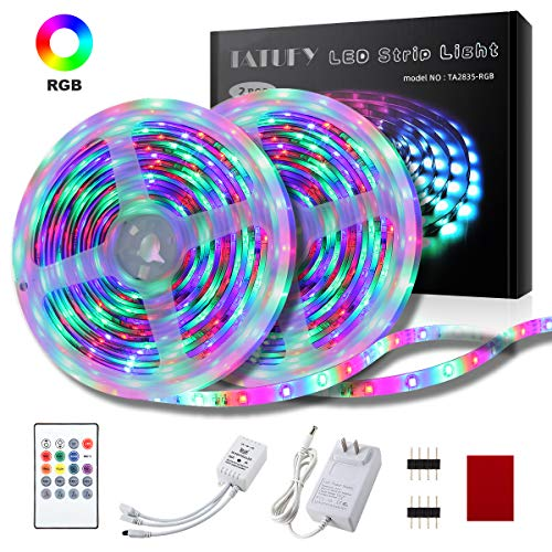 LED Strip Lights, TATUFY 32.8FT/10M RGB Light Strips, Music Sync Color Changing Flexible Tape Lights, Rope Light 600 SMD 3528 LED with 20Key IR Remote Controller for Home Lighting Kitchen Decoration (Best Led Lights For Home)