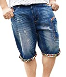 Roberoody Handsome Men's Fashion Print Hip Hop Ripped Bleached Mid Waist Denim Shorts Blue 329930