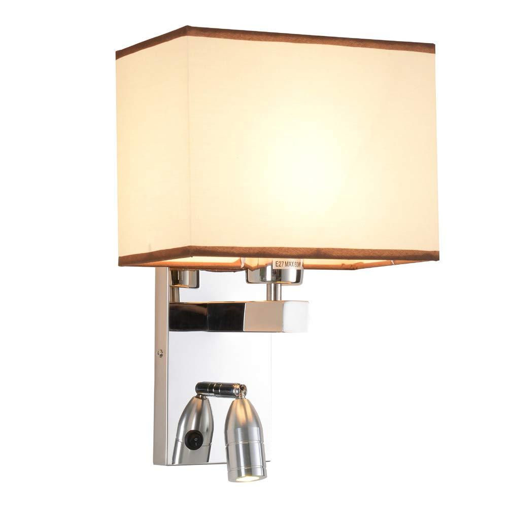 E27 Wandleuchte Beleuchtung Mit Stoffschirm Chrome, Modern Dekoration Wandlampe LED Nachttisch leselicht Für Schlafzimmer Wohnzimmer Wandhalterung Leuchte-A