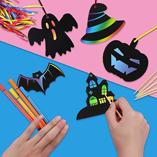 Koogel Halloween Bastelset Kinder Kratzbilder, 48 STK. Kratzpapier Bastelset Holzstäbchenfür Halloween Geburtstag Party Dekoration DIY Handwerk