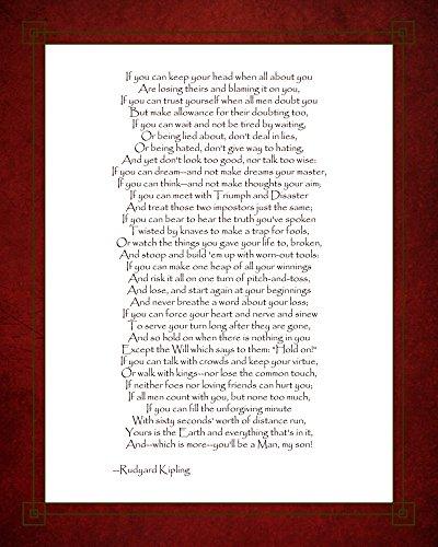 (If - Red Border by Rudyard Kipling Art Print, 13 x 16 inches)