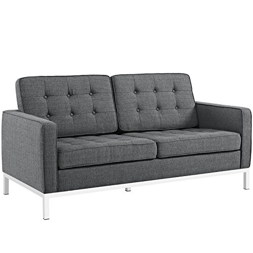 Modway Loft Upholstered Fabric Mid-Century Modern Loveseat In Gray