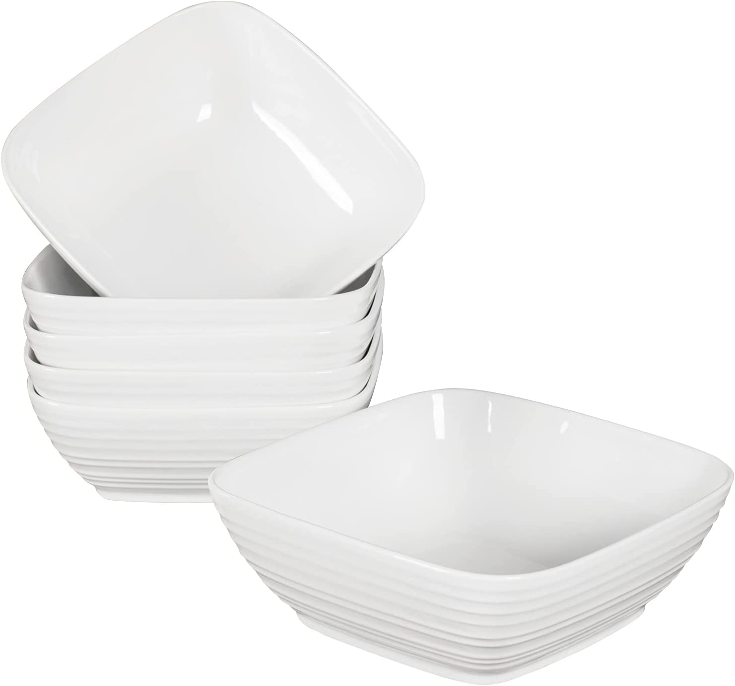 Hasense Porcelain Square Bowls, 24 Ounce White Cereal Bowls Set of 6 for Cereal Salad and Dessert, Microwave Dishwasher and Oven Safe