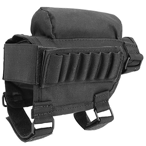 Nylon Tactical Hunting Rifle Shotgun Buttstock Shell Holder Cheek Rest Pouch Rifle Cheek Pad Ammo Carrier Case (Black)