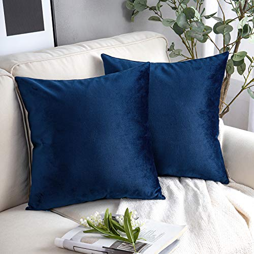 Phantoscope Pack of 2 Velvet Decorative Throw Pillow Covers Soft Solid Square Cushion Case for Couch Navy Blue 18 x 18 inches 45 x 45 cm