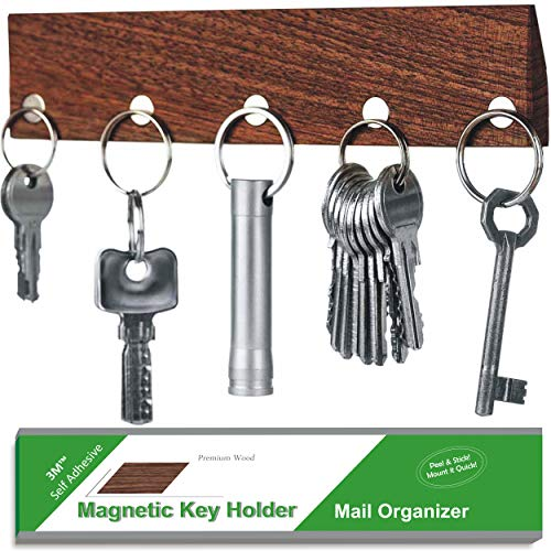 BIZYAC Magnetic Wall Key Holder - Adhesive Walnut Wood Magnet Keychain Organizer ()