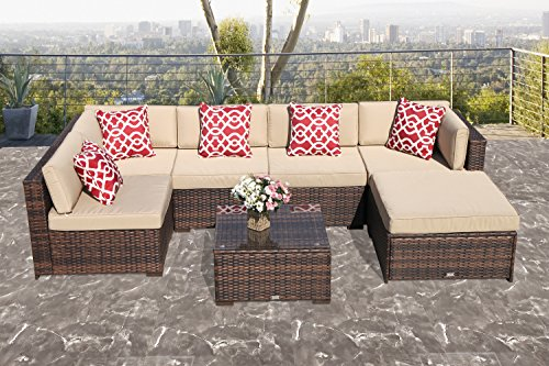 PATIOROMA Outdoor Furniture Sectional Sofa Set (7-Piece Set) All-Weather Brown PE Wicker with Beige Seat Cushions &Glass Coffee Table| Patio, Backyard, Pool| Steel Frame