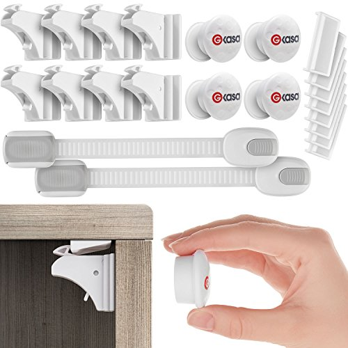 Best Baby Safety Magnetic Cabinet Locks - 8 Locks + 4 Keys + 2 Straps Bonus For Childproof cabinet - Invisible Locking Security System With 3M Adhesive Tape - No Tools Or Screws Needed - By Gkasa (Sign Cabinet)