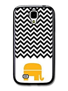 AMAF ? Accessories Chevron Pattern Black & White Mustard Yellow Elephant case for Samsung Galaxy S4