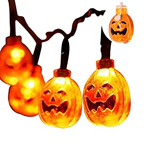 Halloween Lights with 30 led Pumpkin Light,Orange Lights for Halloween 20ft 30LEDs,Halloween Battery Operated String…