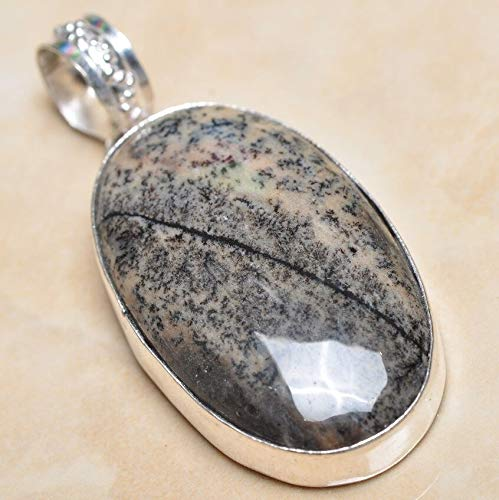 Handmade Dendritic Tree Natural Agate 925 Sterling Silver Pendant -