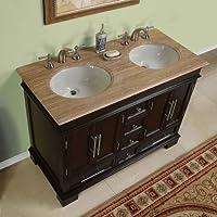 48 Double Sink Travertine Top Bathroom Vanity Cabinet Lavatory