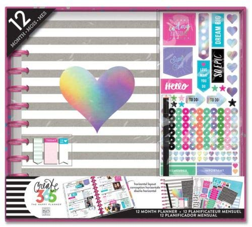 (me & my BIG ideas  BOX-116 Create 365 The Happy Planner Box Kit 12 Month Undated, Big Rainbow Foil (Horizontal))