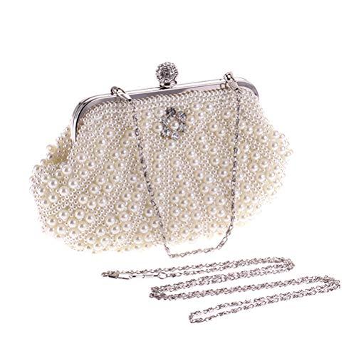 Banquet Elegant Wedding Pearl Evening Party White Women FENICAL Handbag Clutches Bags Ladies Bag 0OvqR