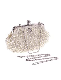 FENICAL Evening Bag Pearl Handbag Ladies Wedding Clutches Party Banquet Bags (White)