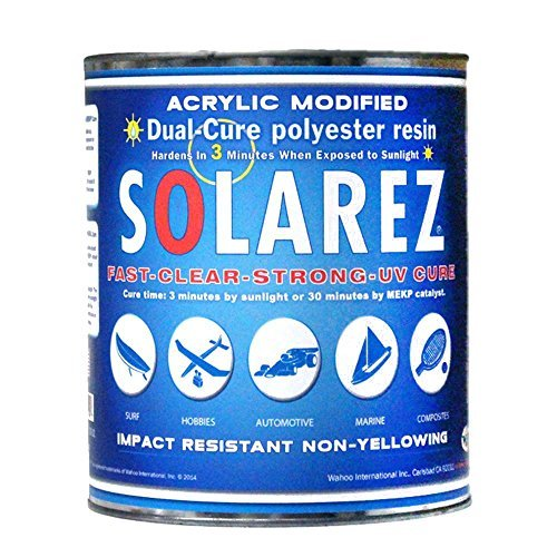 SOLAREZ UV Cure Acrylic Modified Polyester Resin (Gallon) ~Surfboard Manufacturing Epoxy, Boat & PWC Repair, Canoes & Kayaks Composites, Fabrication, Woodworking, Pool, SPA, Tub,