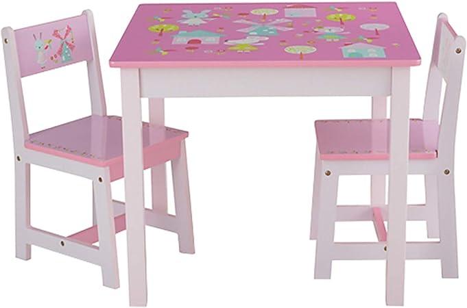 Odt Set Tavolo E Sedie Per Bambini In Legno 1 Tavolo 2 Sedie 1 Tavolo E 2 Sedie Coniglio E Mulino A Vento Amazon It Casa E Cucina
