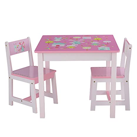 ODT - Set Tavolo e sedie per Bambini, in Legno, 1 Tavolo, 2 sedie, 1 ...