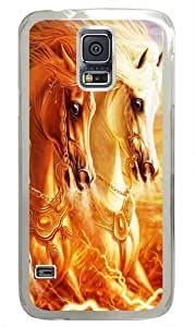 3D Horse Custom Samsung Galaxy S5 Case and Cover - Polycarbonate - Transparent
