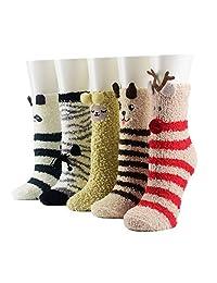 5 Pairs Girls Fluffy Coral Velvet Warm Socks Floor Home Winter Fuzzy Socks
