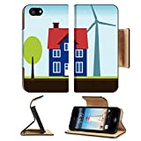 Luxlady Premium Apple iPhone 5 iphone 5S Flip Pu Leather Wallet Case iPhone5 IMAGE ID: 22820302 Eco home property with self sustainable renewable energy sources Wind turbine and solar power panels