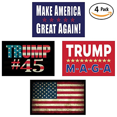 Pro Trump & American Flag Hard Hat & Helmet Stickers: 4 Decal Value Pack. Great for a Motorcycle Biker Helmet, Construction Toolbox, Hardhat, Mechanic Shop & More. Great Gift for Any Patriot. USA Made