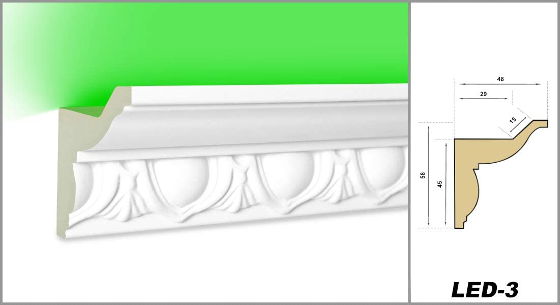 2 metros de LED de 1 hasta LED-16 perfil de poliuretano iluminaci/ón indirecta resistente a los golpes