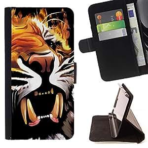 Momo Phone Case / Flip Funda de Cuero Case Cover - Pintura cartel colmillos del tigre Rugido Bostezo - HTC One M7