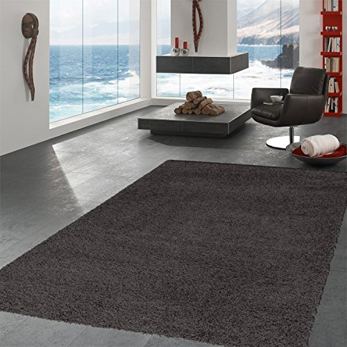 Ottomanson Soft Cozy Color Solid Shag Area Rug Contemporary Living and Bedroom Soft Shag Area Rug, Dark Grey, 7'10