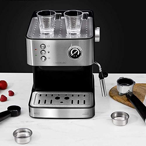 Cecotec Cafetera Express Power Espresso Professionale. 850 W, 20 Bares, Manómetro, Depósito de 1,5L, Brazo Doble Salida…