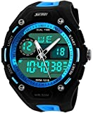 Blue Strap Blue Big Face Waterproof Sports Digital Mens Watches
