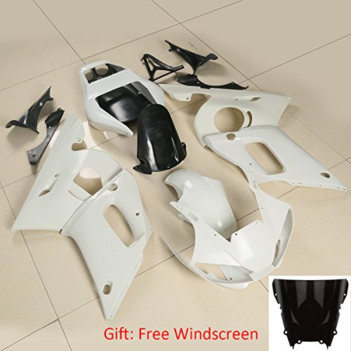 - XFMT Motorcycle White Unpainted ABS Plastic Fairing Cowl Bodywork Set Compatible with YAMAHA YZF R6 YZF-R6 1998 1999 2000 2001 2002