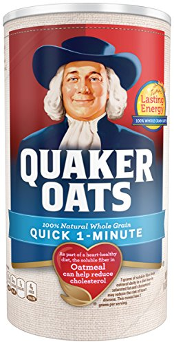 Quaker Oats Quick 1-Minute Oatmeal, Breakfast Cereal, 18oz Canister (Oatmeal Quaker Instant)
