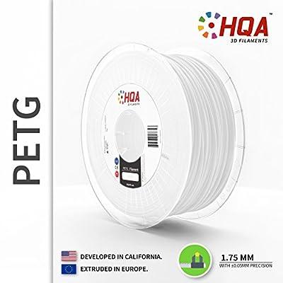 HQA PETG 3D Printer Filament, White, 1.75MM, 1KG Spool [Made in Europe]