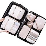 Belsmi 8 Set Packing Cubes - Waterproof Compression Travel Luggage Organizer With Shoes Bag (Beige)