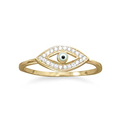 Sterling Silver CZ Evil Eye Ring Amazon Jewellery