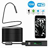 1200P Wireless Endoscope for iPhone Android, LEADNOVO WIFI Borescope Inspection HD Camera IP68 Waterproof Semi-rigid Snake Cable for IOS/MAC/Windows, Motor Engine/Sewer/Pipe/Vehicle -Black(33FT)