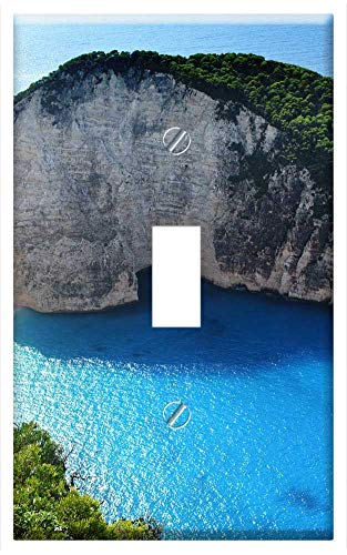(Switch Plate Single Toggle - Greece Navagio Beach Beach Castaway Blue Sea)