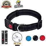 LukPaw Reflective Dog Collar Padded Dog Collar Adjustable Dog Collar for Large Dog Medium Dog Nylon Collar Running Training(Black)
