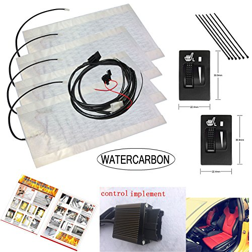 Seat Heater Kit for Toyota Single Wheel Heating Square Switch Setting 2 Seats Auto Interior Install Seat Covers New Car Heated Seat Cushion Hot Cover Auto 12V Heat Heating Warmer Pad-Winter