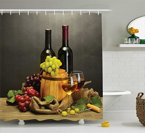 Winery Decor Shower Curtain Set by Ambesonne, Barrel, Bottles and Glasses of Wine and Ripe Grapes on Wooden Table Decorative Picture, Bathroom Accessories, 84 Inches Extralong, Multi