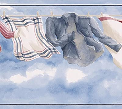 Retro Clothes Drying Line Blue Sky Vintage Wallpaper Border Paint by Design, Roll 15' x 8.5''