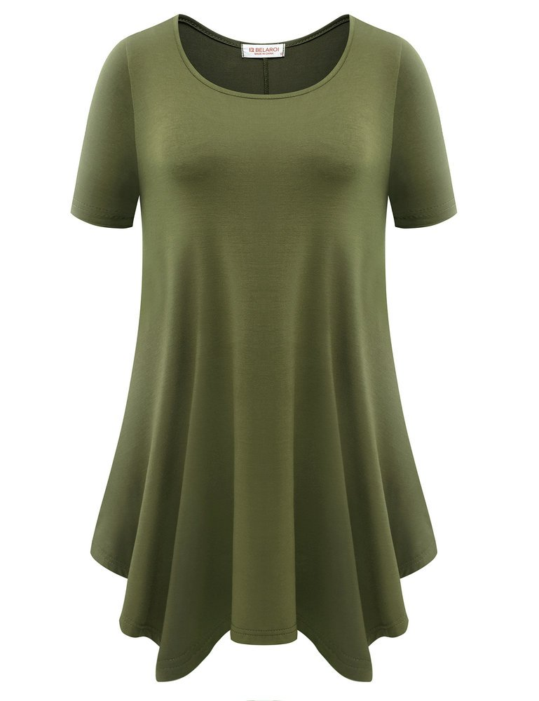 BELAROI Womens Basic Solid Loose Fit Short Sleeve Tunic T Shirt (1X, Army Green)