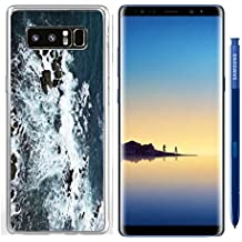 Luxlady Samsung Galaxy Note8 Clear case Soft TPU Rubber Silicone IMAGE ID: 34355569 Waves rocks stones on the Ocean from above View from lighthouse Matara Ceylon Sri Lanka