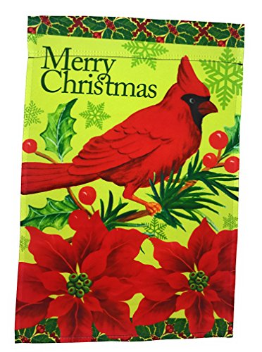(Winter Garden Flag 12 inches by 18 inches Double Sided Reads Correctly Both Sides (Merry Christmas Cardinal with)
