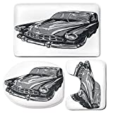 3 Piece Bath Mat Rug Set,Cars,Bathroom Non-Slip Floor Mat,Hand-Drawn-Vintage-Vehicle-with-Detailed-Front-Part-Hood-Lamps-Rear-View-Mirror,Pedestal Rug + Lid Toilet Cover + Bath Mat,Grey-Blue-Grey